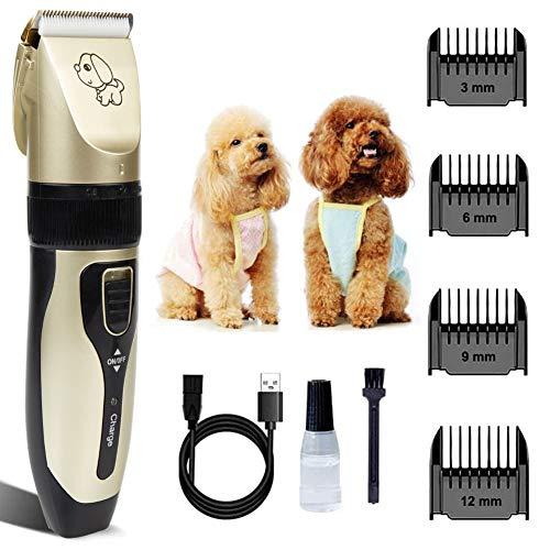 Cuifuli - Cortapelos para perros, cortadores de pelo para mascotas, gatos, perros, silenciosos, recargables, USB, máquina de corte de pelo de 2 horas
