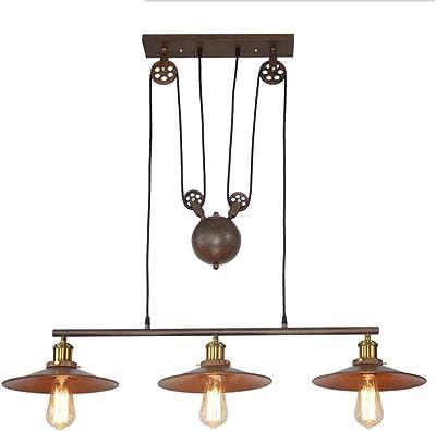 Lámpara colgante polea negro dos luces: Amazon.es: Iluminación