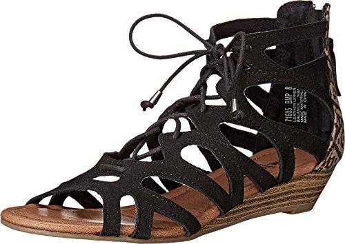 Minnetonka Women's Merida II Gladiator Sandal,Black Suede/Black Mesa Fabric,US 6