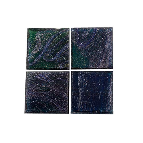Mosaik-Profis Mosaiksteine Sternhimmel (2x2 cm, 900g, ca. 340 St.) - buntes Mosaik ideal zum Basteln - Glasmosaik - Keine Kunststoffverpackung (Dunkelblau)