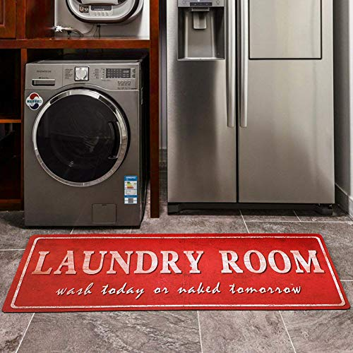 Christmas Red Rugs for Kitchen Laundry Room, Nonskid Holiday Floor Runner Farmhouse Door Mat, Chic Carpet Rustic Mudroom Washroom and Home Accent