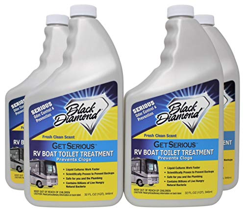 GET SERIOUS RV, Boat, Camper Chemical Toilet Holding Tank Treatment and Deodorizer. Works Faster Than Tablets or Packs in Grey and Black Water. Concentrated with Stress Relief Fragrance (4-32oz)