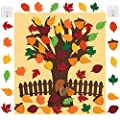 Comken Fall Tree of Thanks Craft Kit - DIY Felt Fall Tree Board with Fence and 40 PCS Detachable Autumn Leaf Pine Cones Squirrel Ornaments for Kids Gifts Classroom Craft Thanksgiving Activity