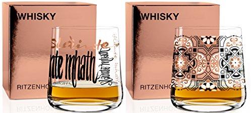 Ritzenhoff Next Whisky 2 er Set Whiskyglas C. Dorsch und Sieger H17 mit Glasreinigungstuch