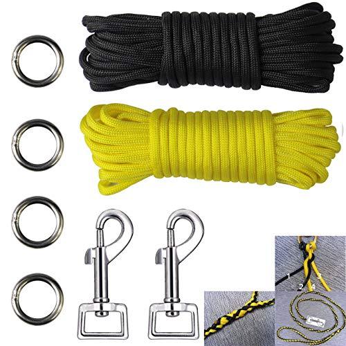 aufodara 8 Stücke Flechten Hundeleine DIY Set - 2er Karabinerhaken - 4er Metall Ringe - 2er 7Meter Nylonseil 7 Kern-Strängen (Für kleine Hunde bis 16 kg, schwarz gelb)