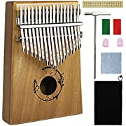 Kalimba 17 Keys Thumb Piano with Study Instruction and Tune Hammer, Portable Mbira Sanza Likembe African Wood Finger Piano, Gift for Kids Adult Beginners