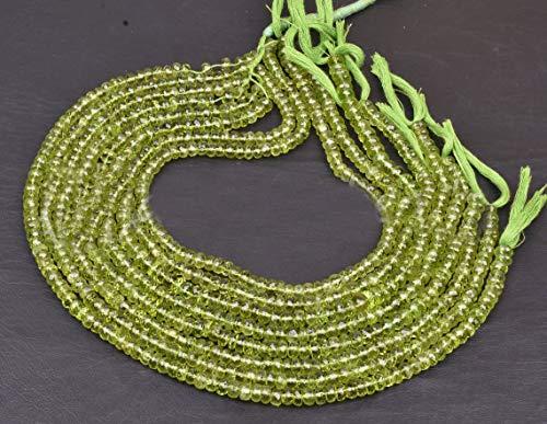 Shree_Narayani Peridoto de calidad fina cuentas sueltas Strand Micro facetado Rondelle 3-4mm 14 pulgadas para hacer joyas DIY manualidades encantos collar pulsera pendiente 1 hebra