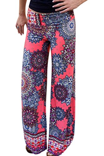Moollyfox Donne Casuali Confortevole Vita Bassa Fiore Colorato Stampati Larghi Pantaloni Gamba Larga Come Immagine S