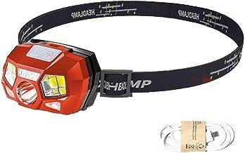 Redlight Spot oplaadbare koplamp, 500 lumen LED-hoofdlamp zaklamp met rood licht en bewegingssensorschakelaar, perfect voo...