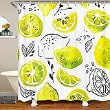 Cortina de ducha con diseño de limón, diseño de frutas, acuarela, para niños, niñas, verano, vacaciones, estilo baño, accesorios impermeables con ganchos, cortinas amarillas frescas, 72 x 84 pulgadas