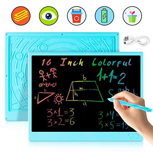 bhdlovely Tableta de Escritura LCD Tablero de Escritura 16 Pulgadas, Tablero de Dibujo electrónico Recargable USB, Tablero de Escritura borrable y portátil para Estudio de Adultos para niños (Azul)