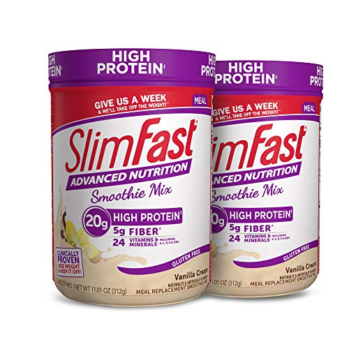 SlimFast Advanced Nutrition Vanilla Cream Smoothie Mix – Weight Loss Meal Replacement – 20g Protein – 11.4 Oz. Canister – 12 Servings (Pack of 2) - Pantry Friendly