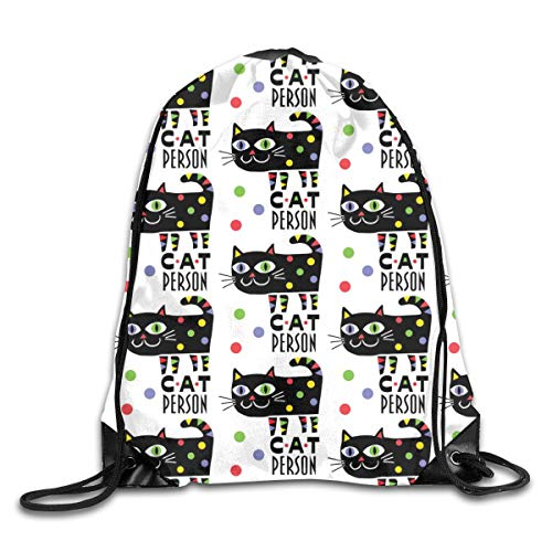show best Cat Person Drawstring Gym Bag for Women and Men Polyester Gym Sack String Backpack for Sport Workout, School, Travel, Books 14.17 X 16.9 inch