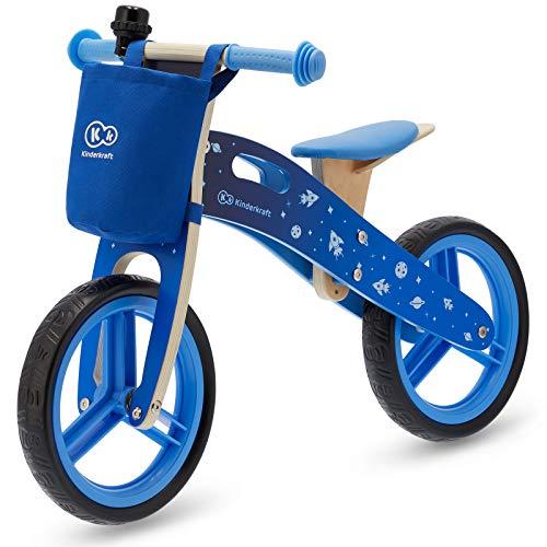 Kinderkraft Bicicletta in Legno Runner, Bici Senza Pedali, Sella Regolabile, Accessori, Fino 35 kg, Blu Unisex-Bambini