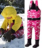 NEYGU Children's 5MM Neoprene Thermal and Waterproof Chest Wader with Rubber Boots,Keep Child Warm Under -31 ℉,Pink Camo Style 7T