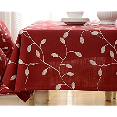 Tina Cotton Linen Tablecloth Leaf Embroidered Table Cover for Dinner Kitchen Red, 52 x70