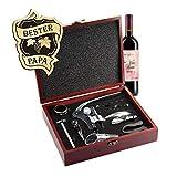 AMAVEL Sommelier Set mit 10 Wein-Accessoires, Geschenkbox aus Holz mit Plakette und Gravur für den Bester Papa, Motiv Weinranke, Geschenk für Weinliebhaber