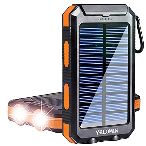 Solar Charger, YELOMIN 20000mAh Portable Waterproof Solar Power Bank for Cellphones, Outdoor External Backup Battery Pack Dual USB 5V Outputs/LED Flashlights Compatible Tablets and Electronic Devices