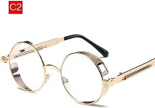 Steampunk Gothic Sunglasses Men Women Metal Punk Sun Glasses Retro Vintage Round Transparent Eyeglasses Frame UV400