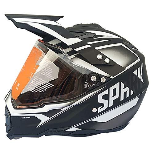 LTongx Motocross Quad Crash DH Casco Dot certificada-Spark Full Face Off Road Descenso Dirt Bike MX ATV Casco de Moto para Adulto Unisex,B,L(58~59CM)