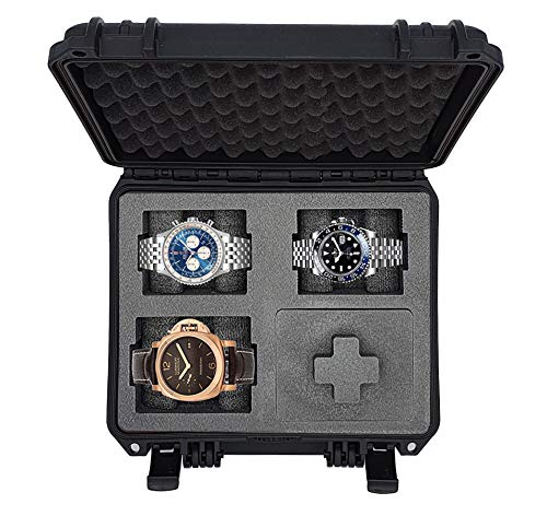 MC-CASES - Watch Case - Transport Case for up to 4 Watches - Travel Case - Waterproof - Lockable - Perfect for Travel - Extreme Protection - Made in Germany