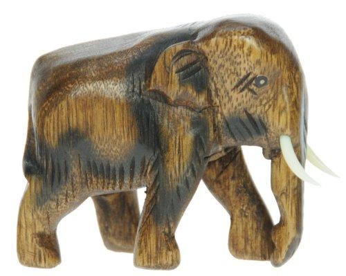 Namesakes Elefante de madera - tallado a mano en madera - estatuilla - escultura - talla hermosa - decoración para el hogar - altura de talla 8.5 cm