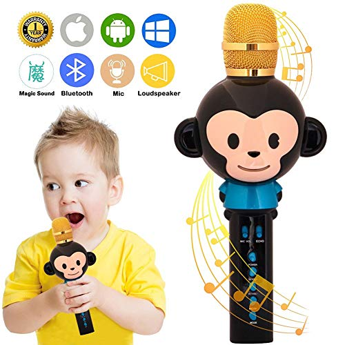 Gaobige Microphone for Kids Karaoke Microphone Bluetooth Wireless Microphone Portable Handheld Karaoke Machine Toys Gifts Singing Recording Home KTV Party iPhone Android PC Smartphone (Black)