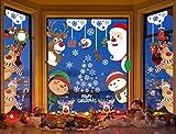 Voqeen Pegatinas de Navidad Calcomanías para Ventanas Peeping Santa Snowflakes Lindo Decoración de Ventanas Santa Claus Adhesivos Reutilizables Calcomanías electrostáticas Ventanas