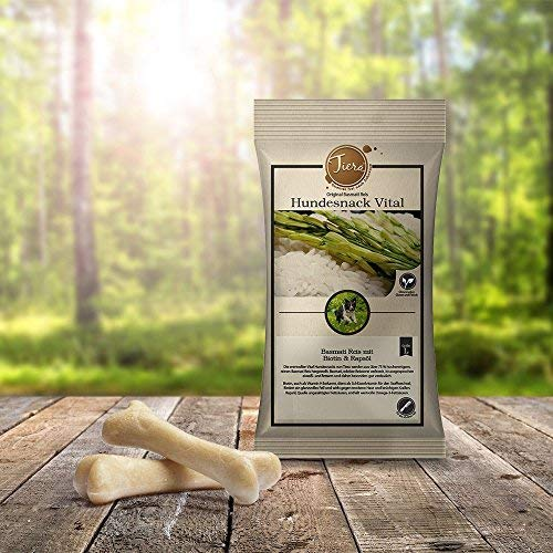 Tiera Vital vegane Hunde Leckerlies Basmati Reis Snack L mit Biotin und Rapsöl 2 x 100 g