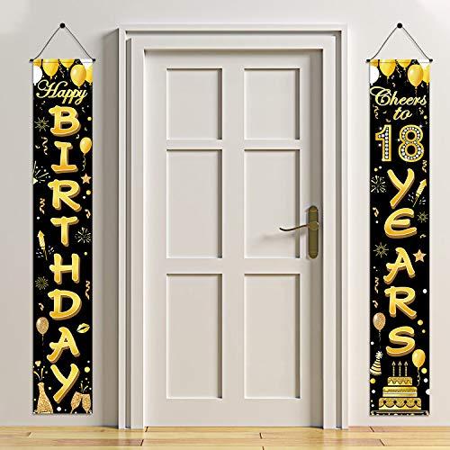 HOWAF 18. Geburtstag Party Dekorationen Schwarz und Gold, Alles Gute zum Geburtstag Banner, Prost auf 18 Jahre Banner Willkommen Veranda Zeichen für Jungen Mädchen 18. Geburtstagsdeko