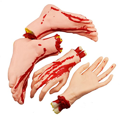 XONOR Halloween Severed Hands Feet Set Scary Bloody Broken...