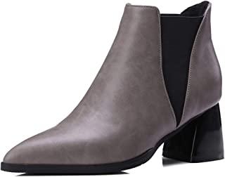 Jesper Women Pointed Toe Block Heel Ankle Chelsea Boots Elegant Business Faux Leather Ankle Boots