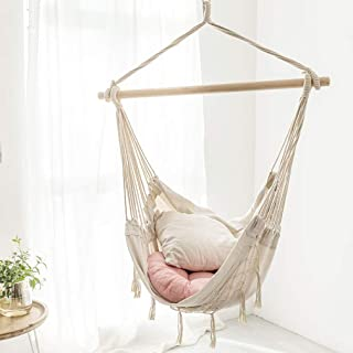 ALUA- Patio Watcher Oversized Hammock Chair Hanging Rope Swing Seat with 2 Cushions and Hardware Kits, Perfect for Indoor,...
