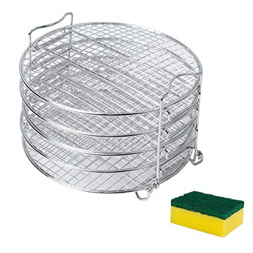 Podoy Dehydrator Stand for Compatible with Ninja Foodi Pressure Cooker Accesories OP301 OP302 OP305 OP401 Cooker237 FD401 Dehydrator Rack 6.5 & 8 qt with 5 Stackable Layers 304 Stainless Steel