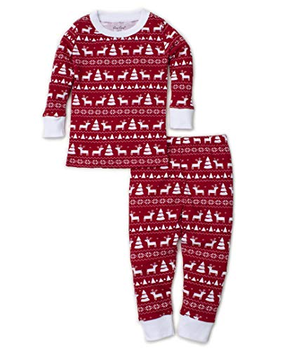 Kissy Kissy Unisex-Baby Infant Christmas Deer Print Long Pajamas Set-Red-12-18 Months