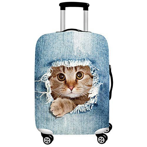 HONMY Travel Luggage Cover Suitcase Protective Cover Trolley Case Cover (S(18-20 Inch Luggage), Cat)