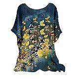 XUEbing Blusa de túnica estampada para mujer, mezcla de algodón, cuello redondo, manga corta, casual, cómoda, holgada, para verano, holgada