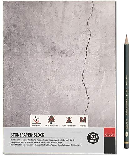 Artservice-Tube Steinpapier-Block, Stonepaper Zeichenblock Zeichenpapier, DIN A5 Format, 192g/m² 40 Blatt