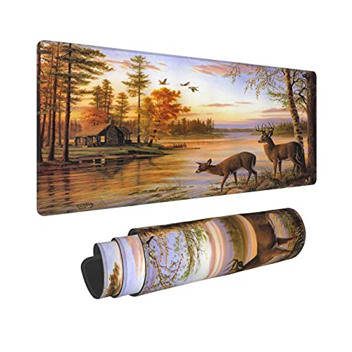 Gaming Mouse Pad Elk Animals Theme Deer Safair in Stream River at Forest Sunset Extended Large Mouse Pads with Non-Slip Base Waterproof Desktop Mat for Home Office