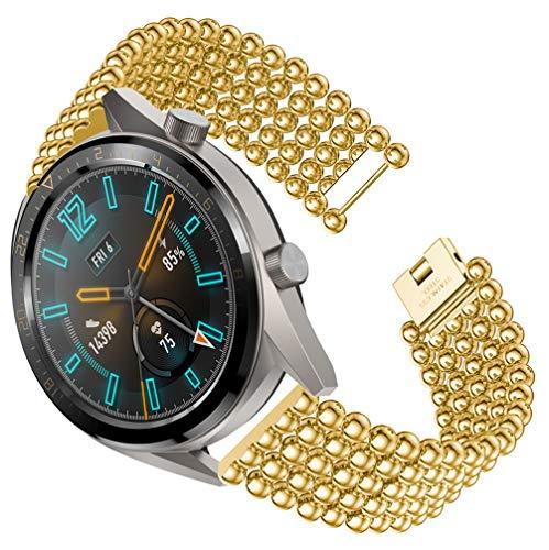 HappyTop - Pulsera para Mujer Compatible con Reloj Huawei GT de Repuesto de Correa de Metal Ajustable, Color Dorado, Moda