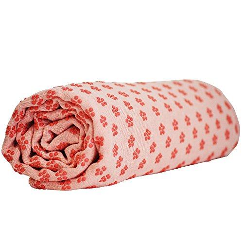LIVEUP SPORTS Yoga Handtuch mit Blumen Antirutsch Noppen 183x63cm pink - Mikrofaser Yoga Handtuch