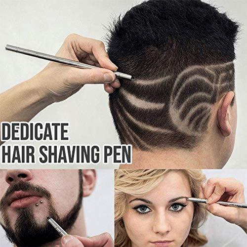 Dedicate Hair Shaving Pen, Salon DIY Multifunktional Gravierter Haarschnitzstift, für raffiniertes Haar- / Augenbrauen- / Bart-Styling (Silber)