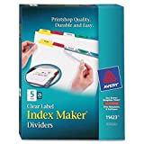 Avery 5-Tab Binder Dividers, Easy Print & Apply Clear Label Strip, Index Maker, Multicolor Tabs, 25 Sets (11423)