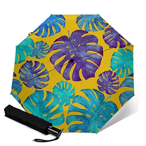 Paraguas plegable de viaje, plantas tropicales de agua automática TRIF-Old a prueba de viento para mujeres con protección UV, apertura y cierre automático