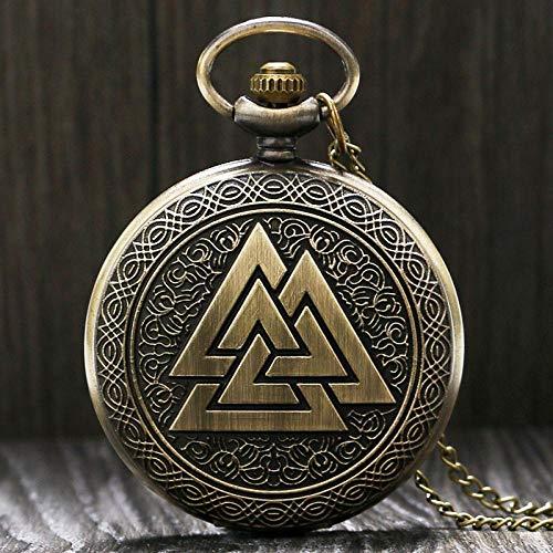 DFGHJK Taschenuhr Mit Kette Vintage Triangle Norse Vikings Bronze Quarz Halskette DREI Ineinandergreifende Uhr Freundschaftsgeschenke