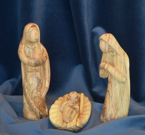 Figura Santa Krippenfiguren MODERNER Stil. 16 cm. Heilige Familie - 3 teilig. Josef, Maria und das Kind in der Krippe. In Bethlehem handgeschnitzt aus Olivenholz.