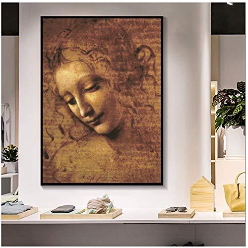 A&D Leonardo DA Vinci Frau Kopf Giclée leinwand Malerei Klassische Kunst Wandkunst Bilder Für Wohnzimmer Schlafzimmer-50x75 cm Kein Rahmen