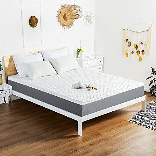 Olee Sleep 9 Inch Ventilated Gel Infused Memory Foam Mattress, CertiPUR-US Certified, Gray, Queen