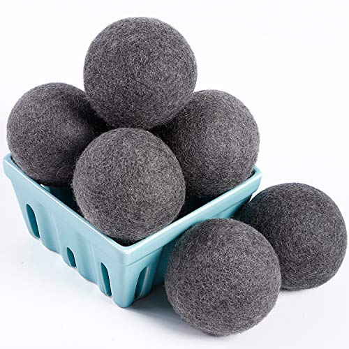 Dryer Balls Laundry, Wool Dryer Balls - Premium Quality - 100% Organic New Zealand Natural Fabric Softener - Reduce Wrinkles, Static Cling, Hypoallergenic, Chemical Free, Non-Toxic Reusable(Grey)