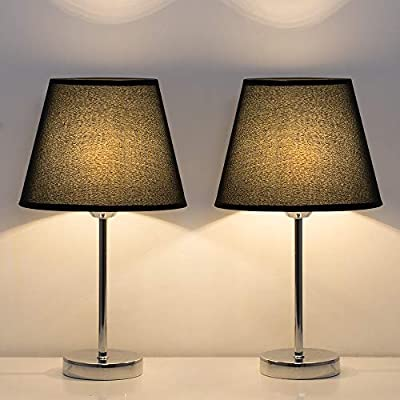 HAITRAL Small Table Lamps, Bedside Lamps Set of 2 with Metal Base Fabric Lamp Shade, Modern Nightstand Lamps for Bedroom, Office, Dorm Room, Black/Silver